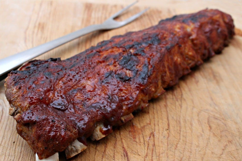 Cooked Ribs with BBQ Fork