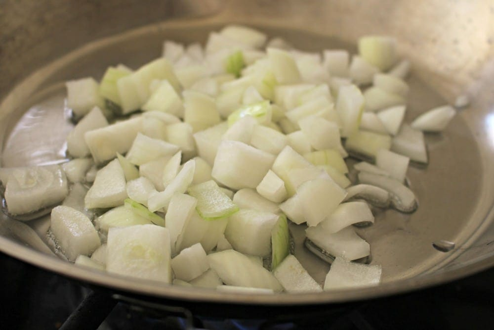 Diced onions in a skillet