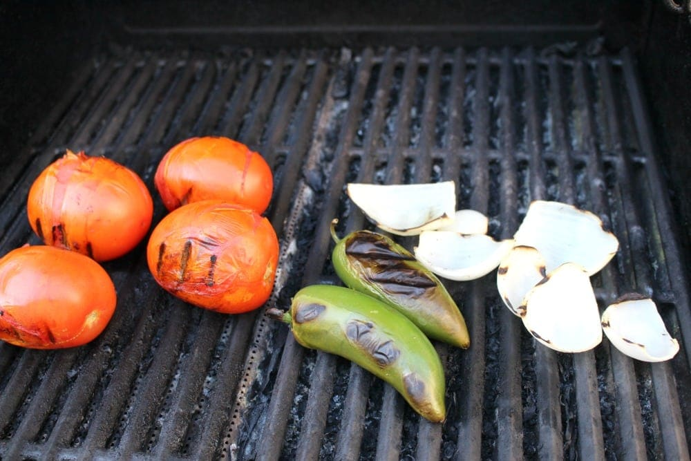 Grilled Tomatoes, Jalapenos, Onions on the Grill