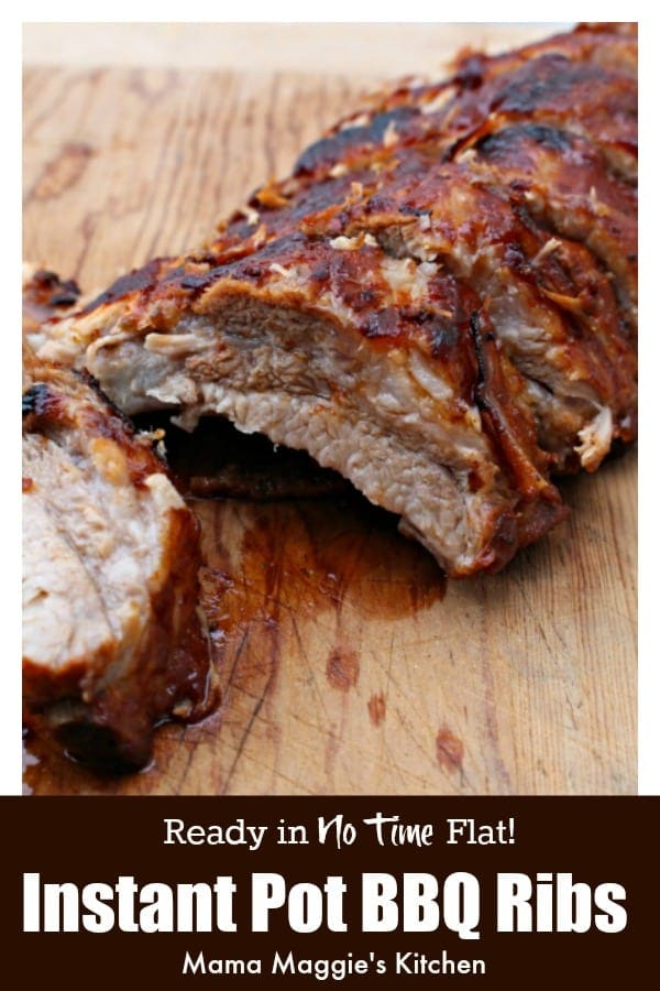 Instant Pot BBQ Ribs is the easiest way to make this summer time recipe. Delicious, flavorful, and done in no time. Who doesn't love that?! by Mama Maggie's Kitchen