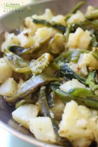 Papas con Rajas, Potatoes and Poblano Chile, in a Skillet