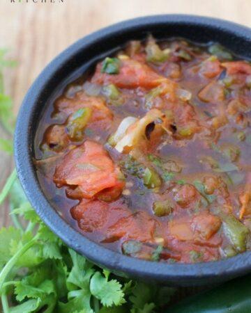 Salsa Borracha (or Drunk Salsa) in a bowl with cilantro