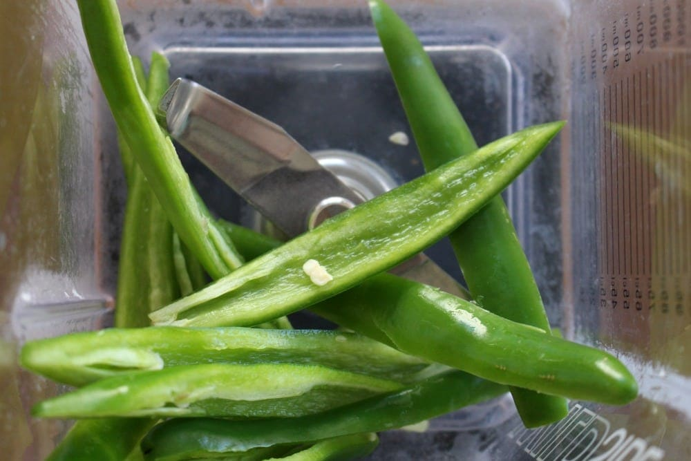 Serrano pepper slices in a blender
