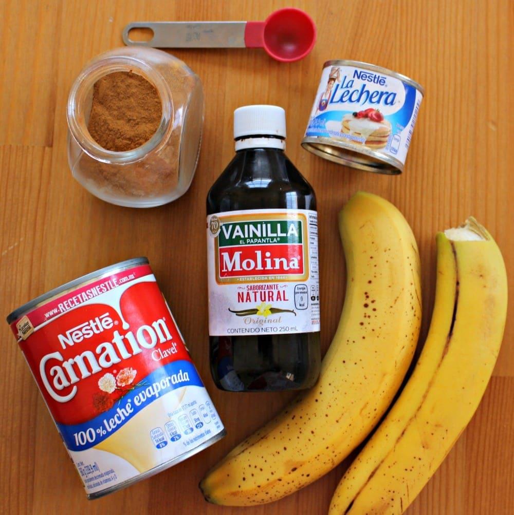 Ingredients for Agua de Plátano