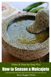 Watch the VIDEO or follow the step-by-step tutorial on how to season a molcajete. Once you're done, it will be ready to make delicious Mexican food. by Mama Maggie's Kitchen