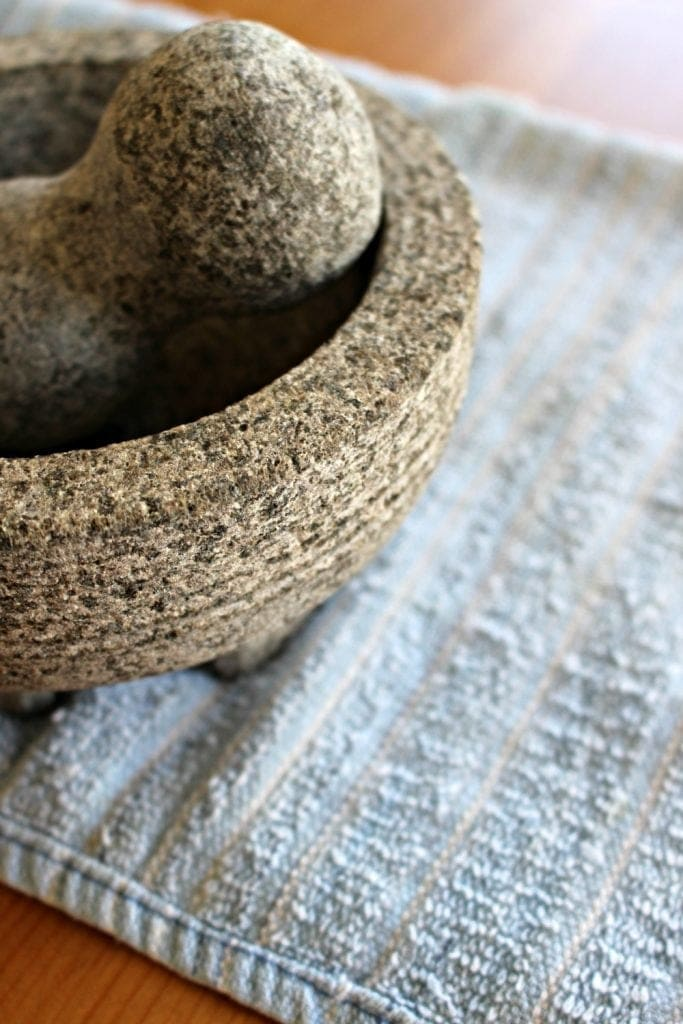 Mortar and Pestle on blue towel