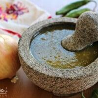 Salsa Verde in a Molcajete