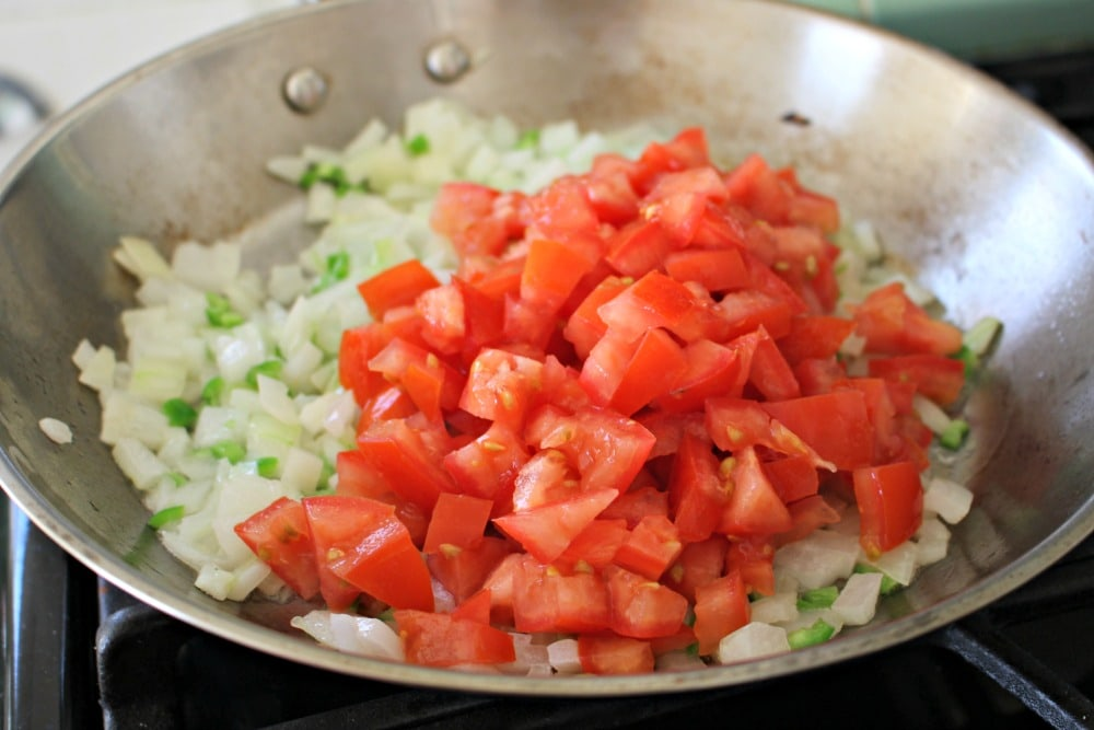 Tomato Onion Jalapeno in a Skillet