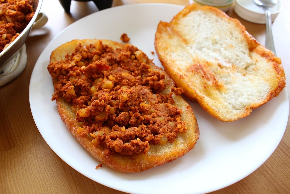Chorizo con papas on telera bread