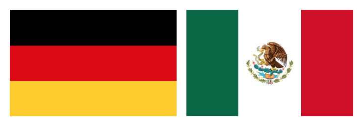 The German flag and the Mexican flag side by side.