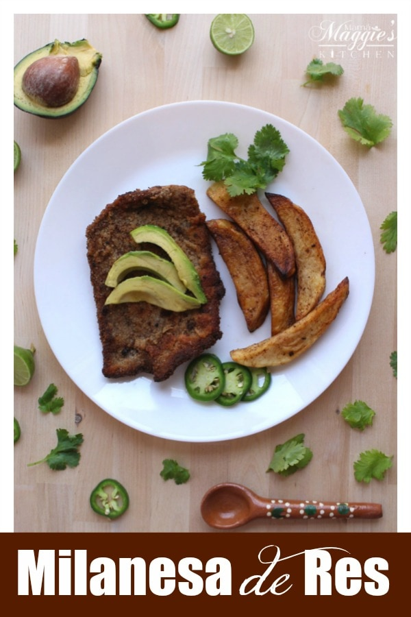 Milanesa de Res is a breaded thin cut of beef that is fried. This classic Mexican recipe is ready in minutes, making it perfect for busy weeknights. Serve with fries and your favorite salsa. By Mama Maggie's Kitchen