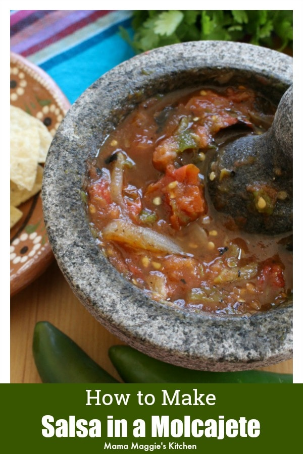 Tomato Molcajete Salsa surrounded by chips and jalapenos by Mama Maggie's Kitchen