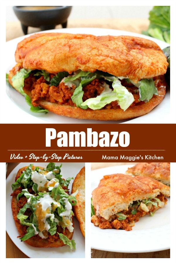 Pambazo is a sandwich dunked in chile sauce and stuffed with a yummy filling. See the VIDEO or the step-by-step pictures to make this Mexican food favorite. By Mama Maggie's Kitchen