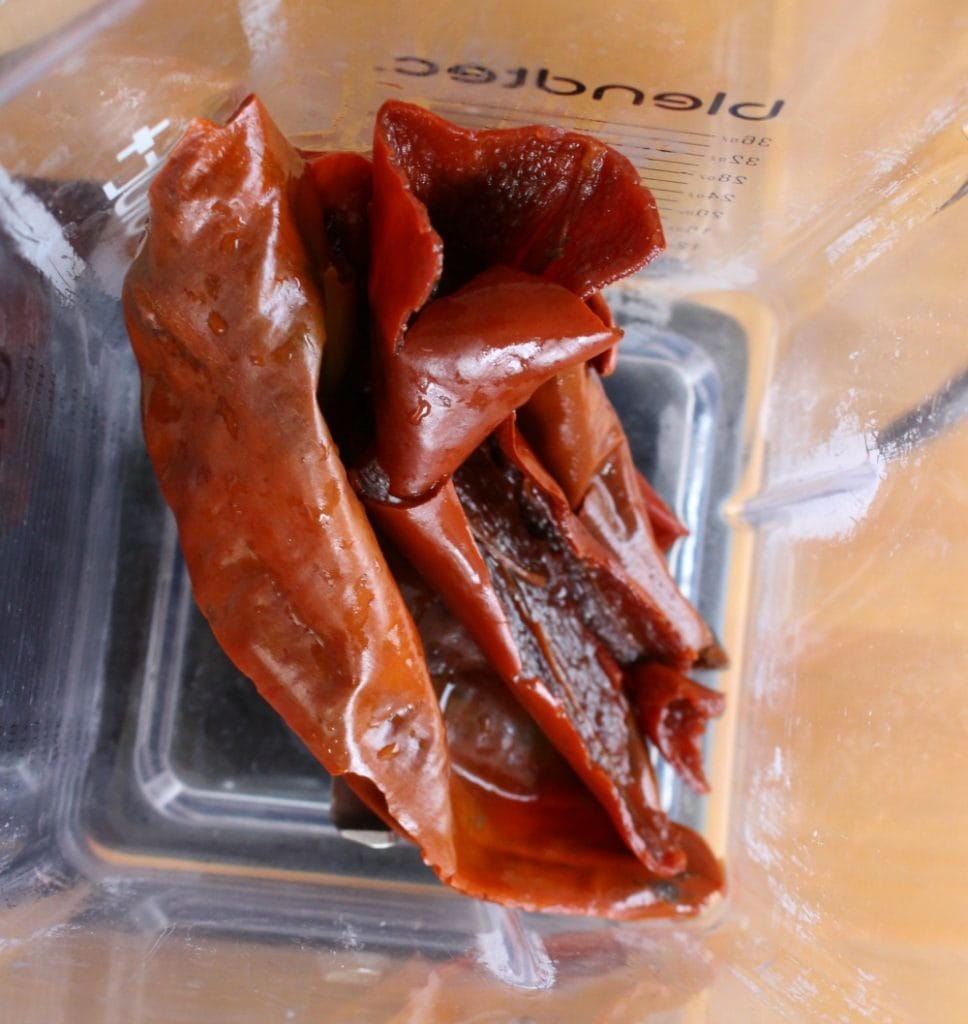 Reconstituted Guajillo Chile in a blender
