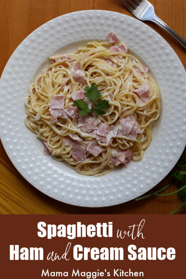 Espagueti a la Crema (or Spaghetti with Ham and Cream Sauce) is a busy mom's best friend. This classic Mexican recipe comes together in under 30 minutes. Watch the video or follow the step-by-step pictures to make this recipe by Mama Maggie's Kitchen