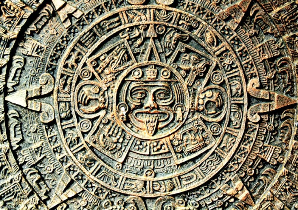 A picture of the Aztec Calendar.