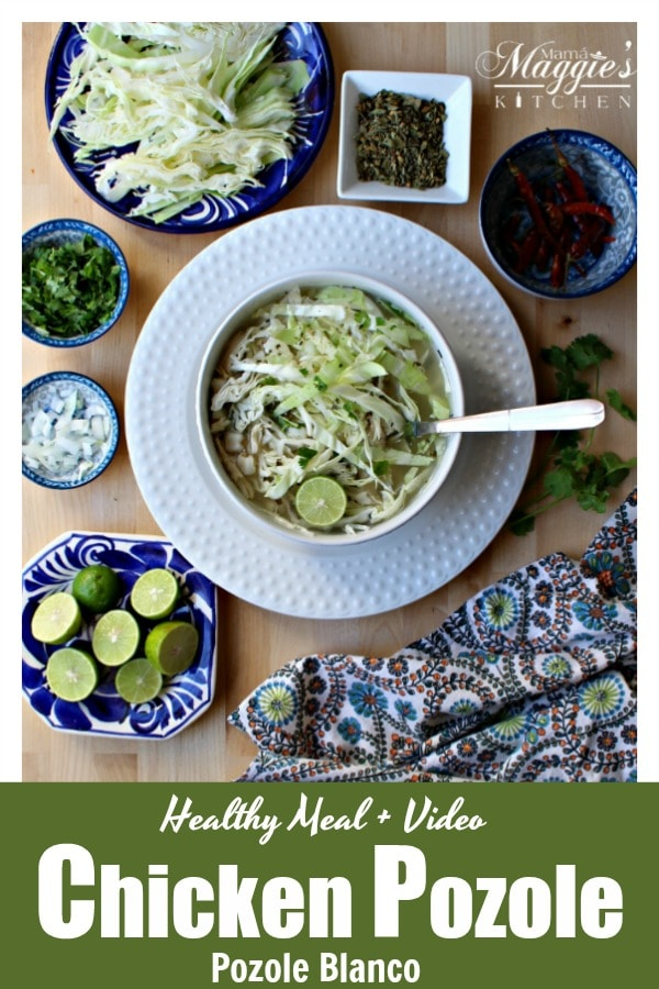 Pozole Blanco, or Chicken Pozole, is a hearty and delicious dish. A traditional Mexican food classic that is perfect for cold, winter night. Watch the Video or see the step-by-step pictures. By Mama Maggie's Kitchen