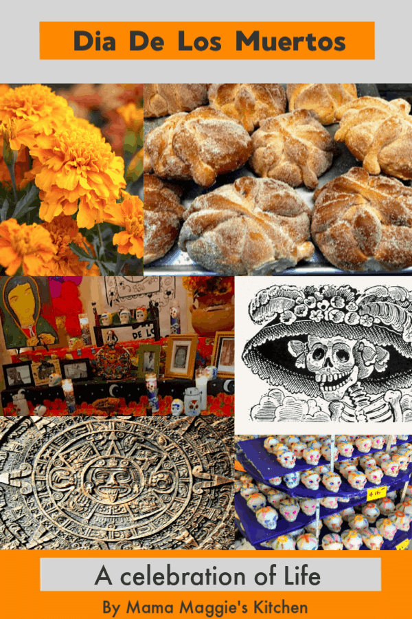 Dia de Los Muertos, or Day of the Day facts collage of all that makes up this Mexican holiday.