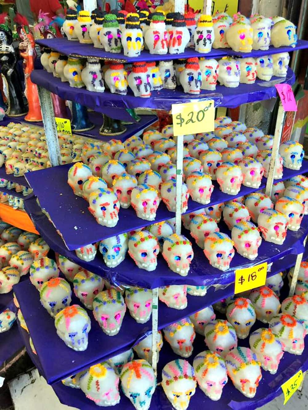 A store display showing the sugar skulls for Dia de los Muertos.