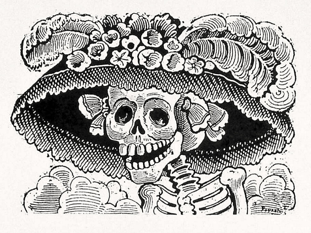A black and white image of La Catrina Skull and Bones