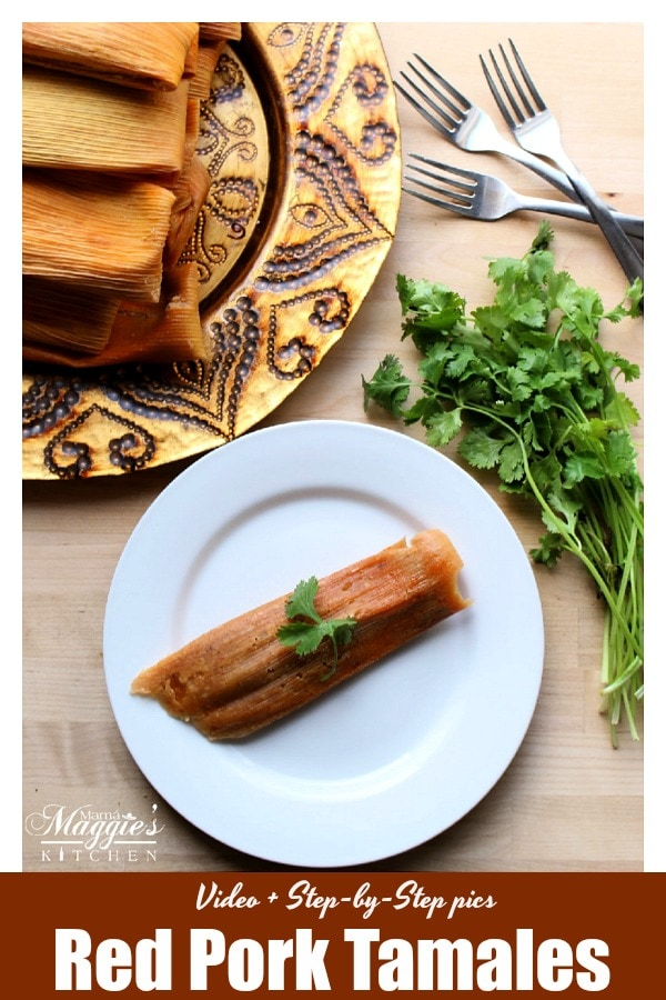 Red Pork Tamales (or Tamales de Puerco en Chile Rojo) is traditional Mexican food at its best. So tasty. So incredibly delicious. They are worth the effort to make. With VIDEO and step-by-step tutorial. By Mama Maggie's Kitchen