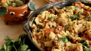 Mexican-Style Sausage, Bacon, and Eggs