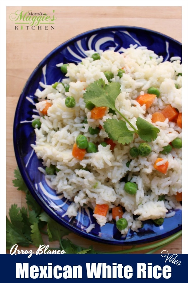 Arroz Blanco, or Mexican White Rice, is an easy-to-make side dish that is perfect for any Mexican food recipes. Watch the VIDEO or step-by-step photos. By Mama Maggie's Kitchen
