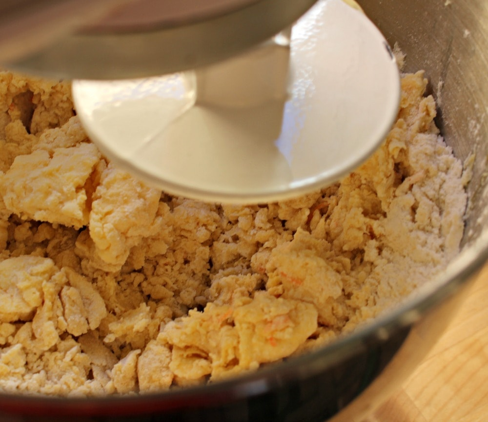 Mixing the ingredients for the Rosca de Reyes in a large KitchenAid mixer.