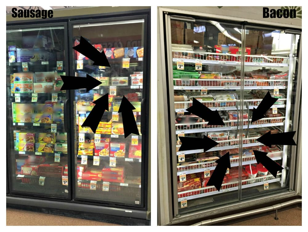 Two side-by-side images with arrows showing where the items are located in the refrigerated areas.