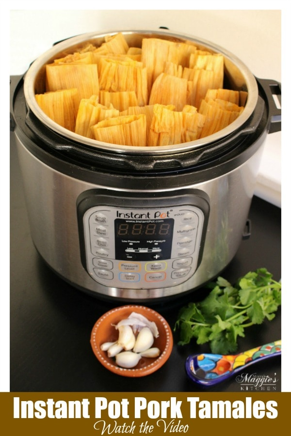 Instant Pot Pork Tamales are incredibly tasty and perfect for your next fiesta. This authentic Mexican recipe is ready in almost half the time. Serve your favorite salsa and enjoy! Recipe with VIDEO. By Mama Maggie's Kitchen