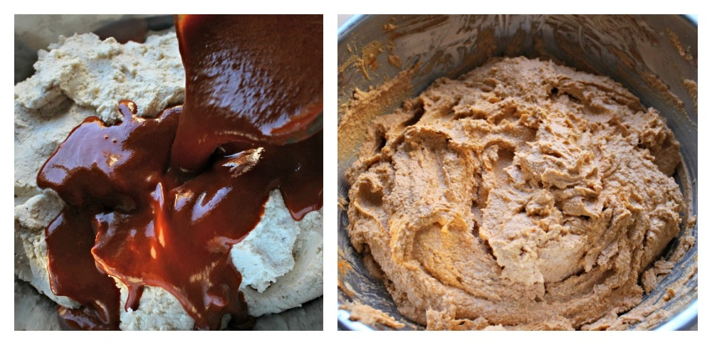 A collage where one image shows red sauce pouring into the masa and the other image shows the masa mixed with the red sauce.
