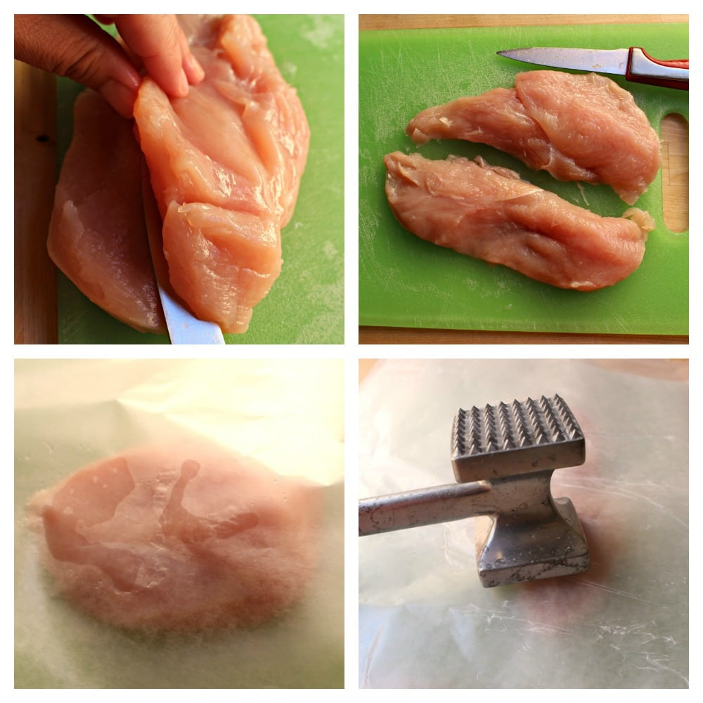A collage showing a chicken breast sliced and pounded with a meat tenderizer.