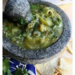 This Molcajete Salsa Verde Recipe is a tasty and fabulous treat. This is as authentic Mexican food gets and goes great with just about everything! By Mama Maggie's Kitchen