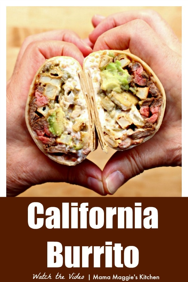 A California Burrito is a real San Diego treat. Grilled carne asada with french fries and all the fixings wrapped inside. It is incredibly tasty and absolutely delicious. WITH VIDEO and step-by-step pictures. By Mama Maggie's Kitchen