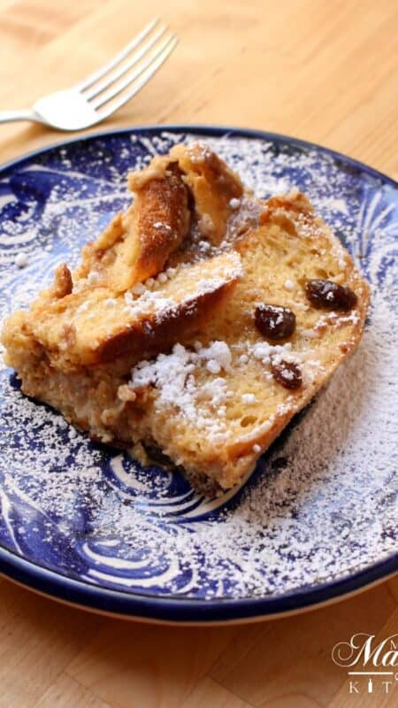 Conchas Bread Pudding (Capirotada de Conchas) is a delicious and decadent dessert. A perfect way to end any Mexican meal. By Mama Maggie's Kitchen