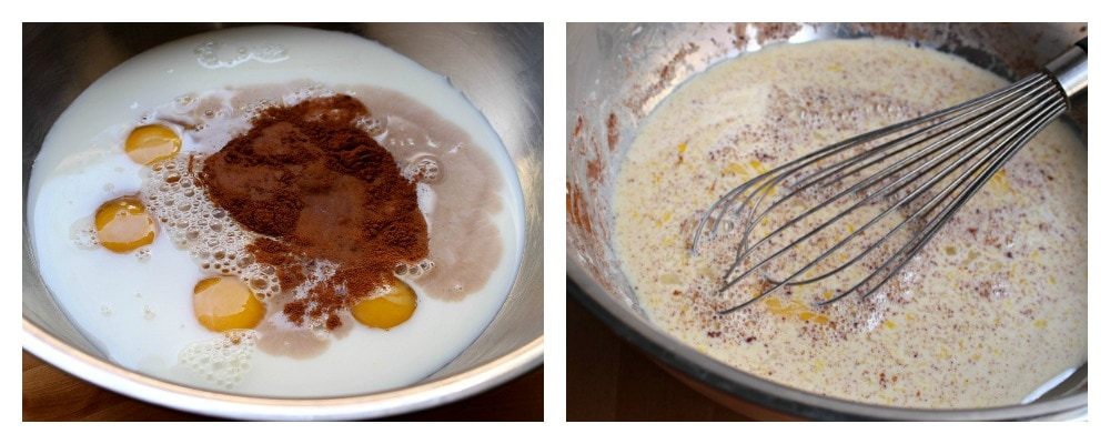 A collage picture. The picture on the left shows eggs, milk, and cinnamon in a bowl. The picture on the right shows a whisk mixing the egg mixture.