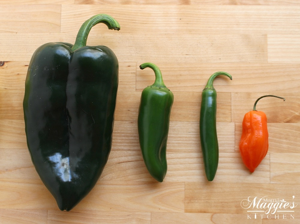 A poblano pepper, jalapeno, serrano pepper, and a habanero pepper next to each other.