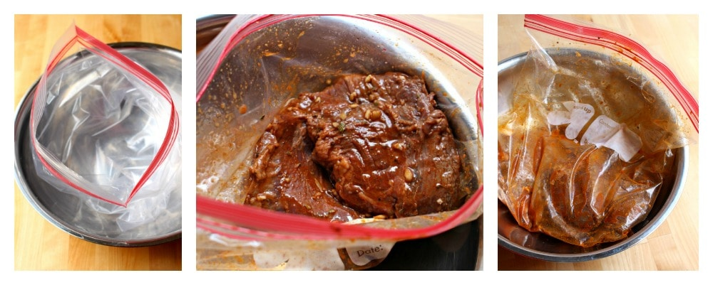 A collage of meat marinating in a plastic bag.