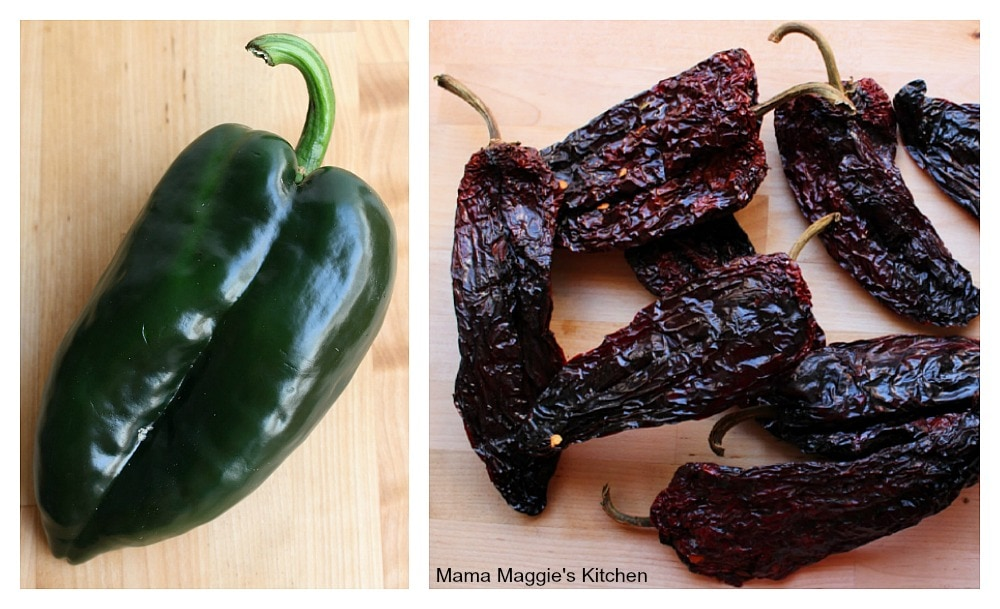 Fresh poblano pepper in one picture and dried ancho chile in the other.