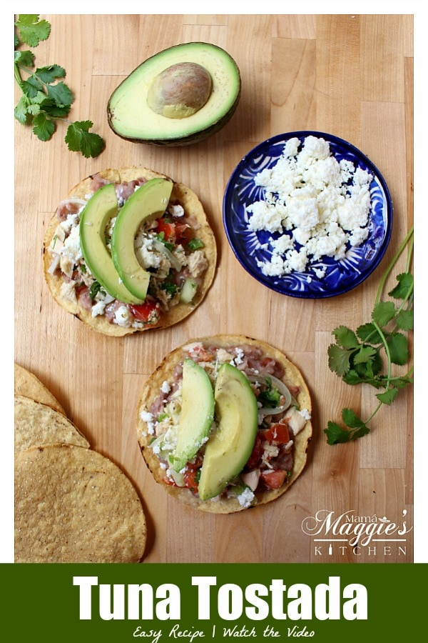 Tostada de Atún (Tuna Tostada) is a budget-friendly, light, and delicious recipe. By Mama Maggie's Kitchen