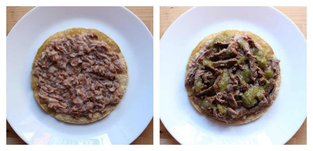 A collage showing how to assemble Steak Huevos Rancheros.