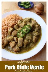 This Authentic Chile Verde Recipe is made from tender pork that is slowly cooked in a savory salsa verde sauce. So tasty and full of amazing Mexican flavors. By Mama Maggie's Kitchen