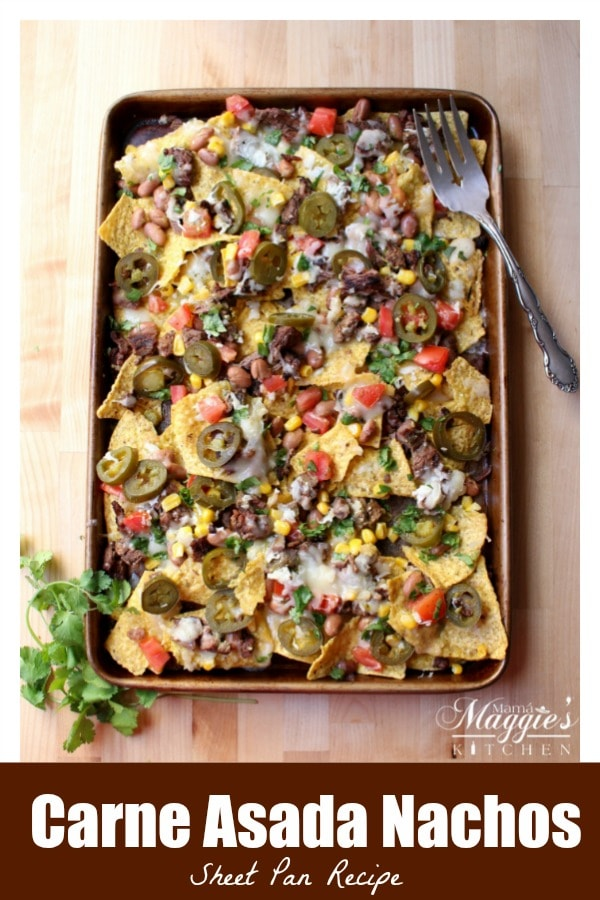 Carne Asada Nachos is a tasty, delicious, and indulgent appetizer loved by foodies everywhere. Try this easy sheet pan recipe for game day or your next party. By Mama Maggie's Kitchen