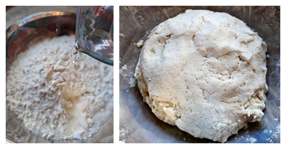 Two pictures side by side. One shows water pouring into the masa harina mixture. The other pictures shows a dough of masa.