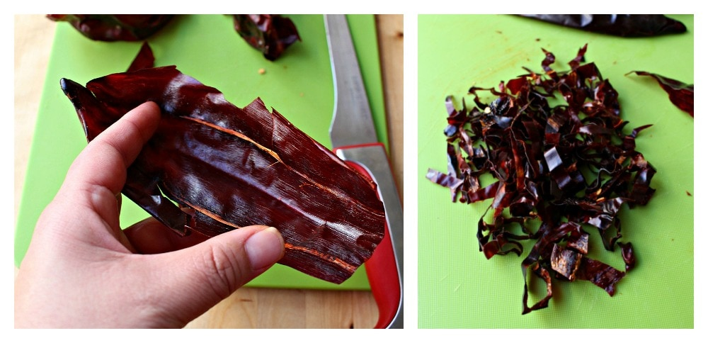 Two pictures side by side, one with dried guajillo chile cut open and deveined and in the second picture, there are slices of dried chile guajillo.