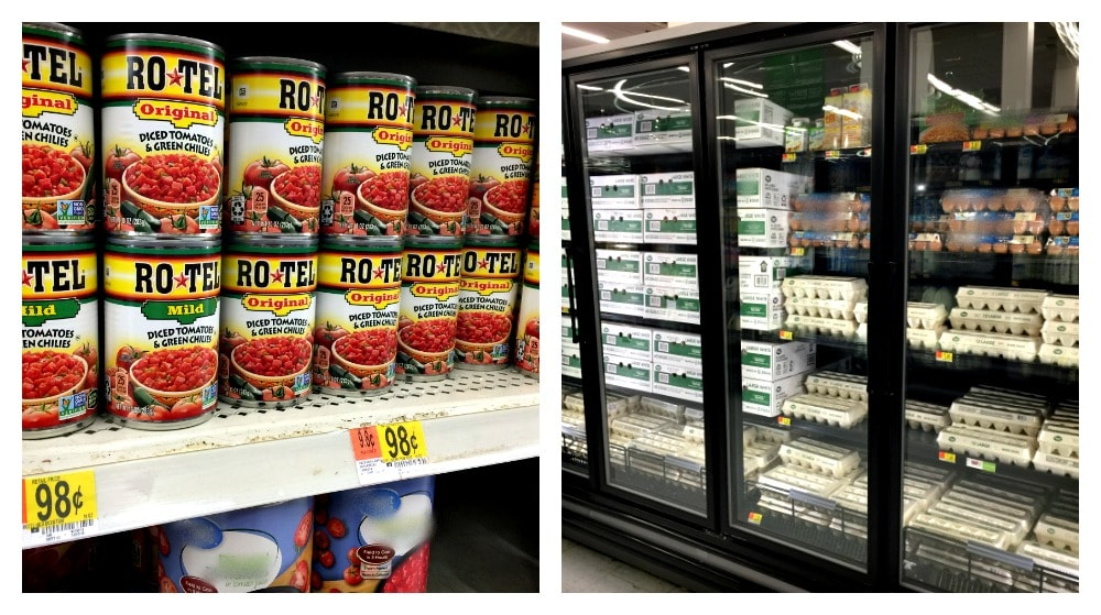 Two pictures side by side. One of RO*TEL cans at the store and another of eggs in the refrigerator area of the store.