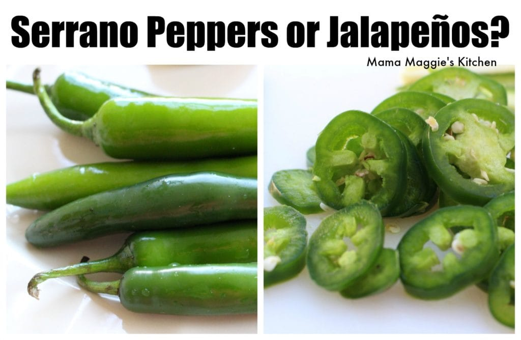 Serrano Peppers next to sliced jalapenos.