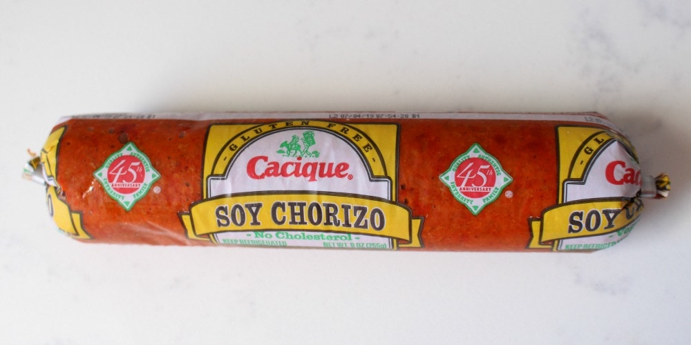 Soy chorizo sausage in its package.