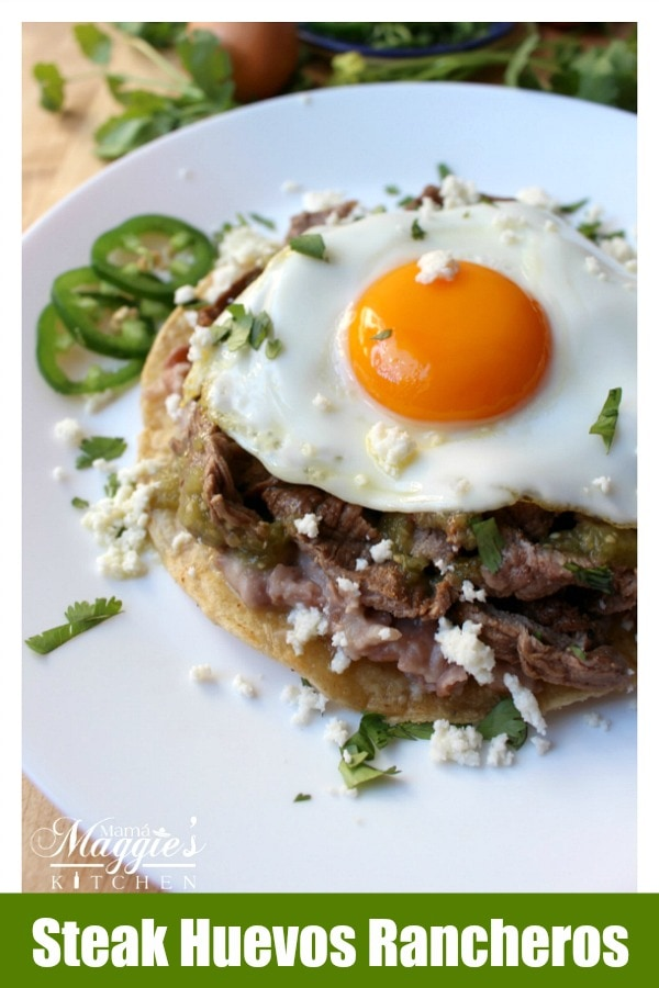 Steak Huevos Rancheros is the perfect dish to make for Sunday brunch. So tasty and so delicious. With a runny egg on top, nothing could be more satisfying. By Mama Maggie's Kitchen