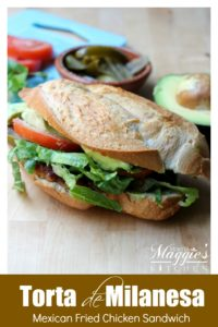Who doesn't love a good Torta de Milanesa (Mexican Fried Chicken Sandwich)? Golden and crispy chicken that's stuffed into a freshly baked roll with all the fixings. Each bite is piece of heaven. With Video. By Mama Maggie's Kitchen